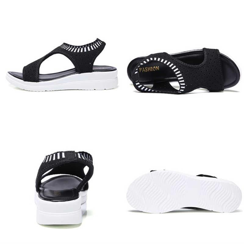 Kadın sandalet 2020 yeni kadın ayakkabısı kadın yaz kama rahat sandalet bayanlar Slip-on düz sandalet kadın Sandalias 808
