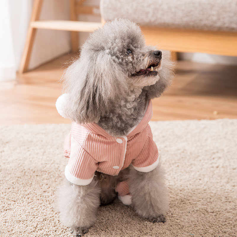 겨울 개 옷 더블 양모 공 코듀로이 따뜻한 옷 작은 개 의상 코트 자켓 강아지 스웨터 개 애완 동물 의상