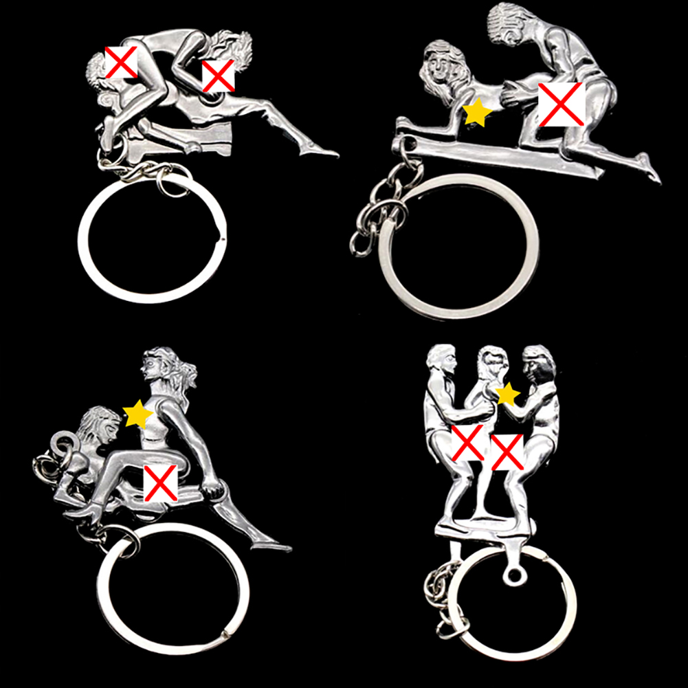 1 Pcs Alternative Sexy Lover Metal Keychain Keyring Key Ring Chain Funny Toy Sex Pose Key Chain Personality Metal Unisex