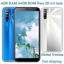Teléfono Inteligente Global, 4GB RAM, 64GB ROM, 9A, Android, Quad Core, identificación facial, cámara de 13,0mp, pantalla de 6,0 pulgadas, teléfonos móviles libres