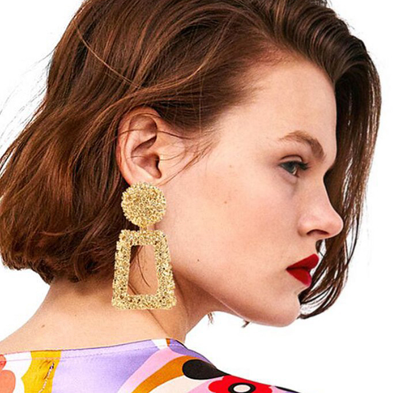 Exaggerated Eardrop Earring American Fashion Style Geometric Shaped Metal Earring 5 Colors Earring Accessories For Women Gifts