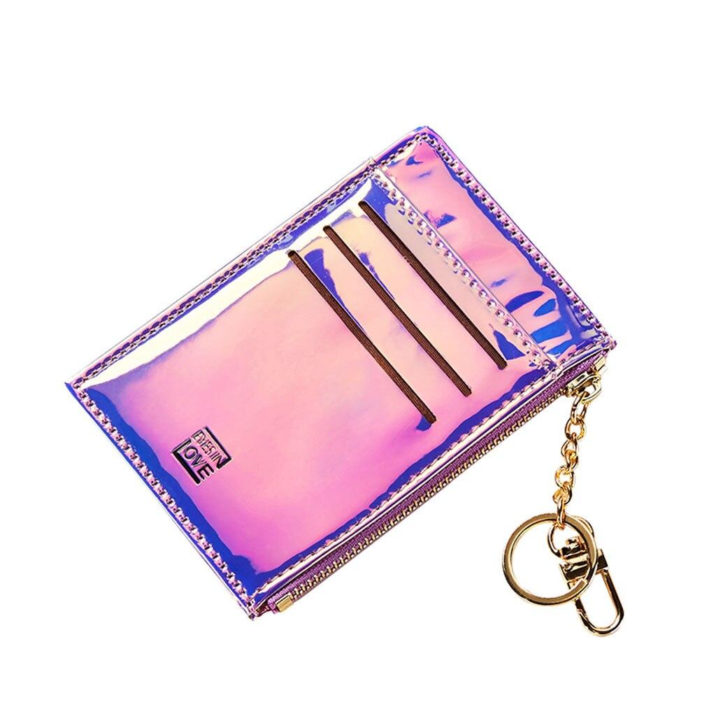 New Lanyard Laser Holographic Wallet Women Mini Purse Female Clutch Bag Women Wallets Purses Zipper Coin Pocket Card Holders