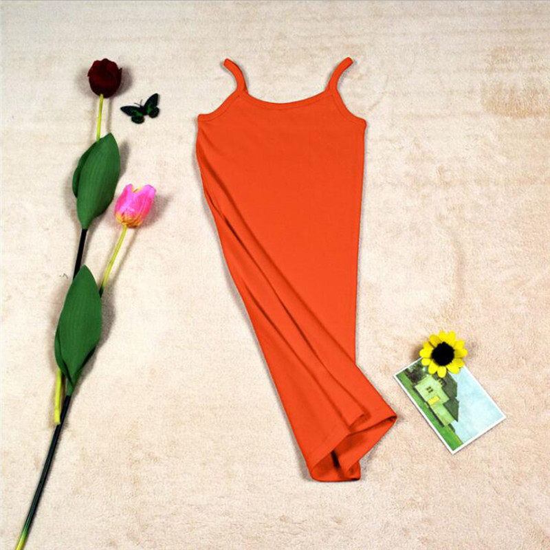 Новинка, Женская эластичная кофточка на бретельках, Длинный топ на бретелях, Мини Короткое платье, летнее повседневное сексуальное платье без рукавов для женщин - Цвет: A-Orange