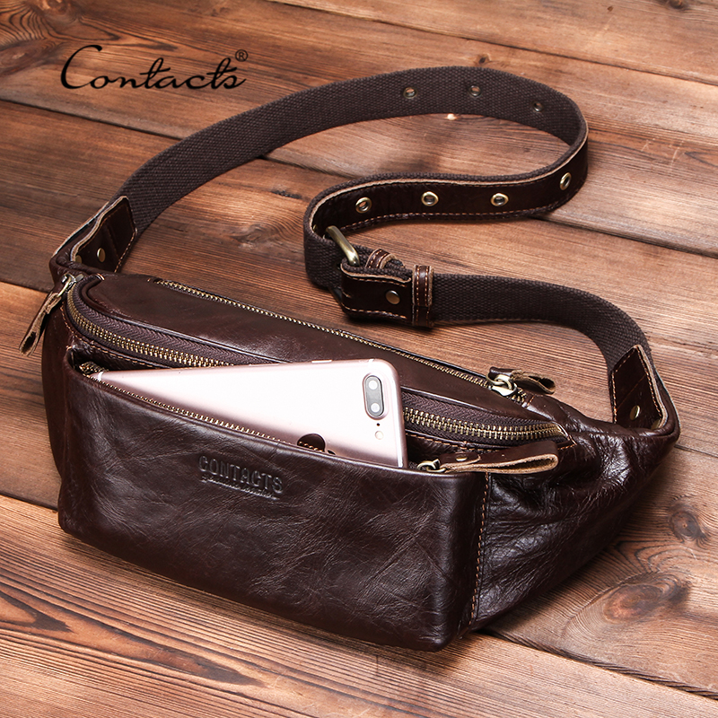 CONTACT'S Genuine Leather Men Waist Bag For IPhone Vintage Travel Fanny Pack With Card Holder Male Belt Bag Zipper Bum Bag 2010