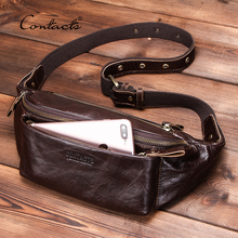 CONTACTS Genuine Leather men waist bag for iPhone vintage Travel Fanny Pack with card holder male Belt Bag zipper bum bag 2010