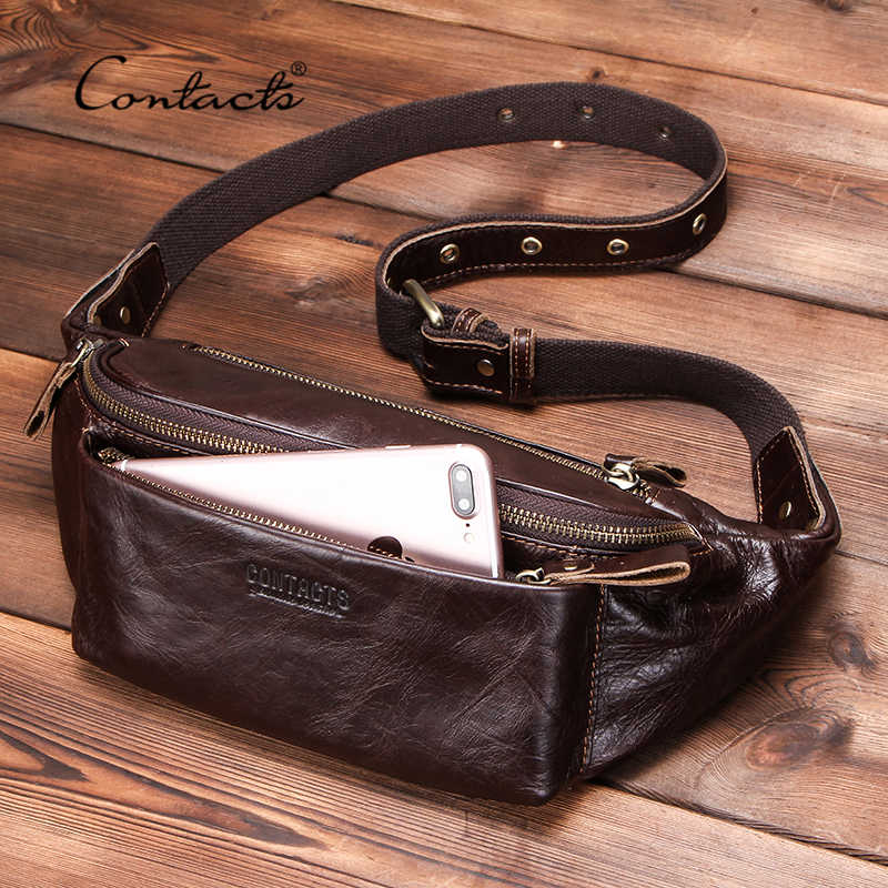 CONTACT'S Genuine Leather men waist bag for iPhone vintage Travel Fanny Pack with card holder male Belt Bag zipper bum bag  2019