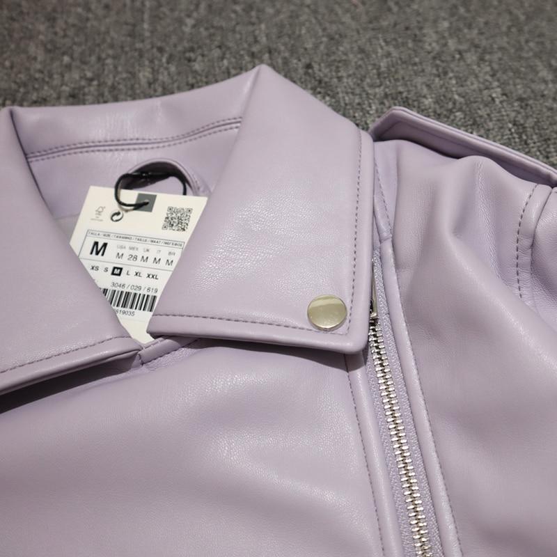 H09a6bd5b11554ae69fcc22f89306f315a Spring Autumn Women Faux Leather Jacket Ladies Solid With Belt Zipper Biker Coat Female Casual Outwear