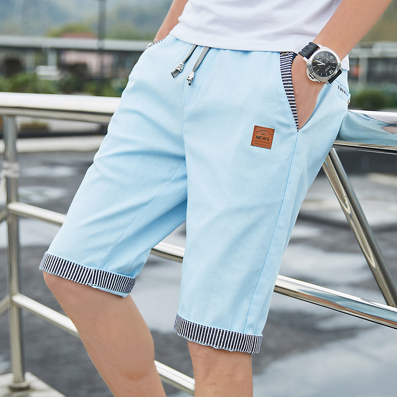 Men Casual Summer Plaid Patchwork Pockets Buttons Fifth Pants Loose Beach Shorts Male Summer Sports Workout Bottoms Clothing 5
