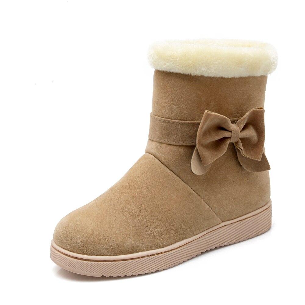 2019 Women Snow Boots Flat Winter Plus Size Platform Ladies Warm Shoes New Flock Fur Women's Suede Ankle Boots Female