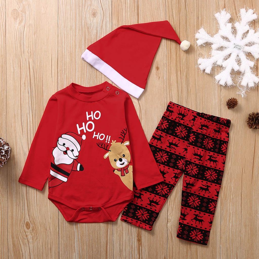 Weihnachten Neugeborene Baby Mädchen Jungen kleidung 3 stücke set Tops Strampler Hosen Outfits lange ärmeln baby kleidung sets 0- 18 M A2