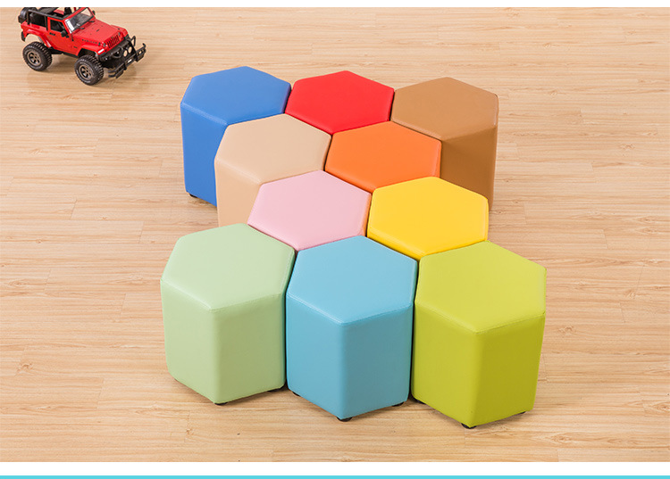 Kids Sofa  Leather Stool Colorful Creative Polygon Round Stool Chair For Kids  Baby Furniture  Kids Chair  Baby Furniture