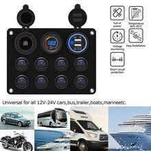 8 Gang Marine Led panneau de commutateur de bateau 12V panneau de commutateur à bascule marche-arrêt 2 USB chargeur voiture bateau Marine RV camion