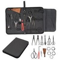 15pcs Bonsai Tool Set Carbon Steel Extensive Cutter Scissors Kit With Nylon Case Garden Pruning Tools Mayitr