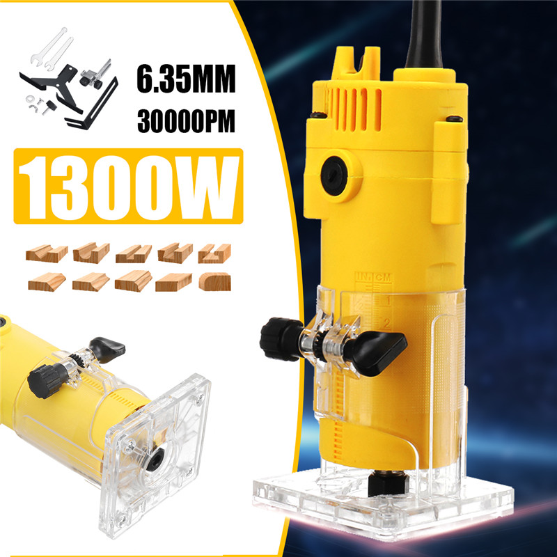 1300W 6.35MM 30000rpm Electric Trimmer Wood Laminate Router 110V US /220V EU Woodworking Trimming Tools Carving Milling Machine