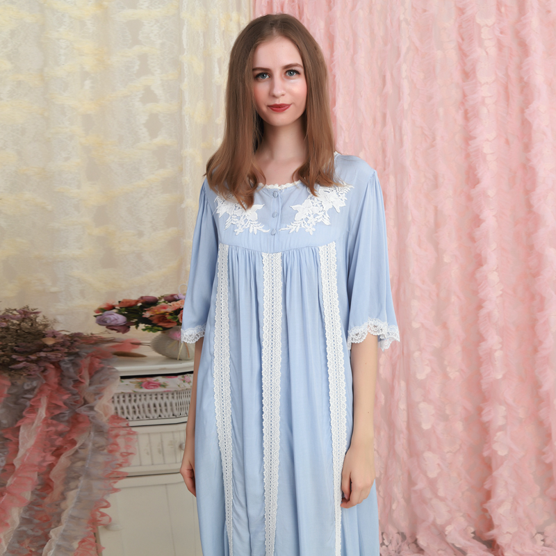 Cotton Nightgown Summer Sleepwear Woman Long Dress Nightgowns Ladies Loose Long Nightdress