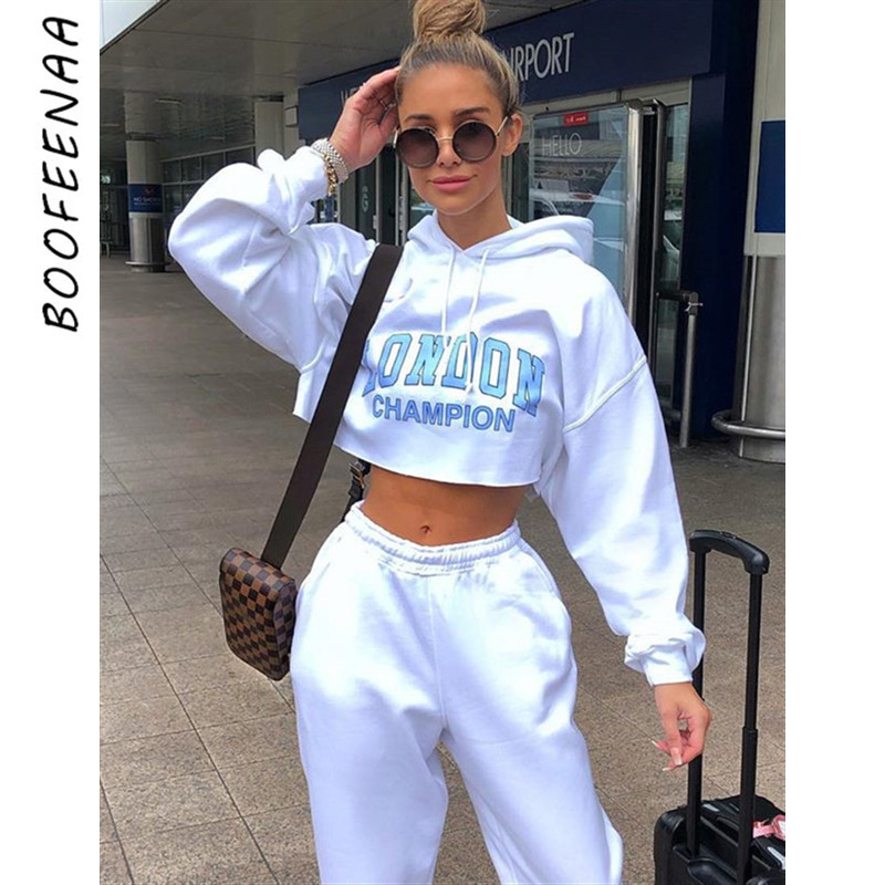BOOFEENAA Letter Print White Cropped Oversized Hoodie Streetwear Clothes Autumn 2019 Womens Sweatshirts Pullover C83-AC14