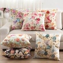 45*45cm funda para cojín de flores rosa Vintage barata funda de cojín de franela sofá de oficina funda de almohada de coche romántica decoración del hogar rural