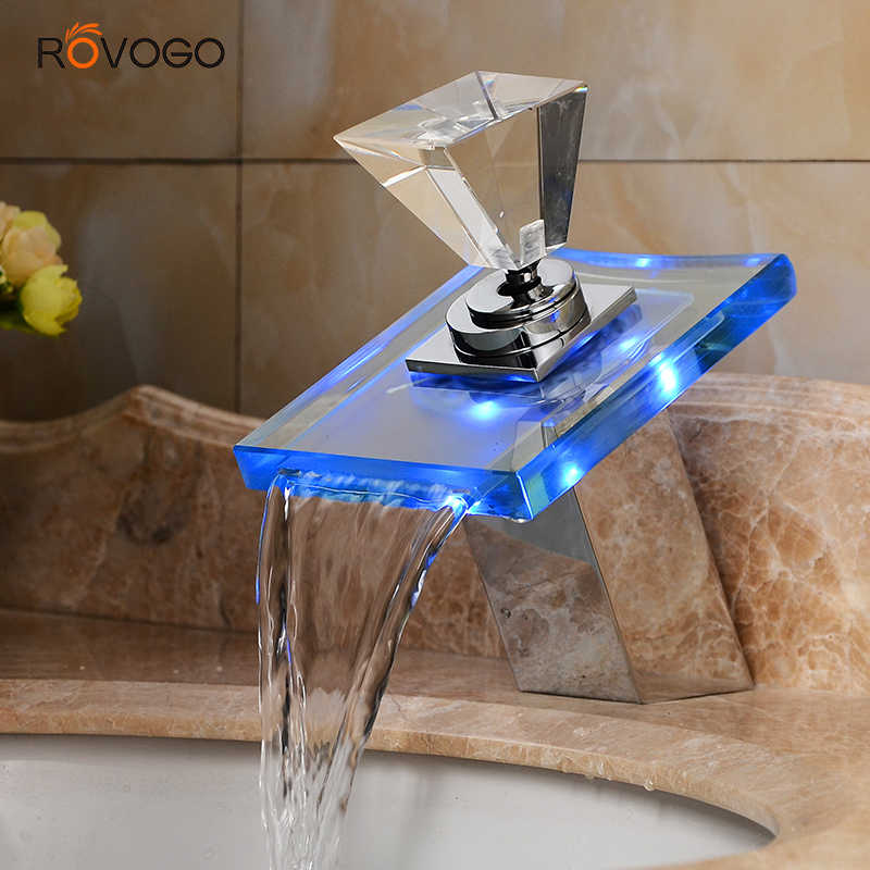 led light basin faucet waterfall taps 3 colors change single hole deck mounted water bathroom sink tap