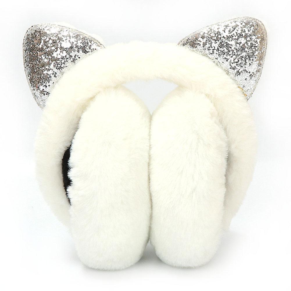 Winter Autumn Warm Super Thick Plush Earmuffs Cute Cat Ears Earmuffs Plush Girl Earmuffs Ladies With Rhinestone Warm Earmuffs