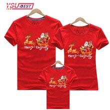 Matching T-Shirts Pajamas Christmas Family Red Elf Reindeer Print Short Top Tees Santa-Claus