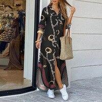 Модное женское платье-рубашка с длинным рукавом, осенние длинные платья с принтом OL, свободный сарафан с отложным воротником, вечерние платья