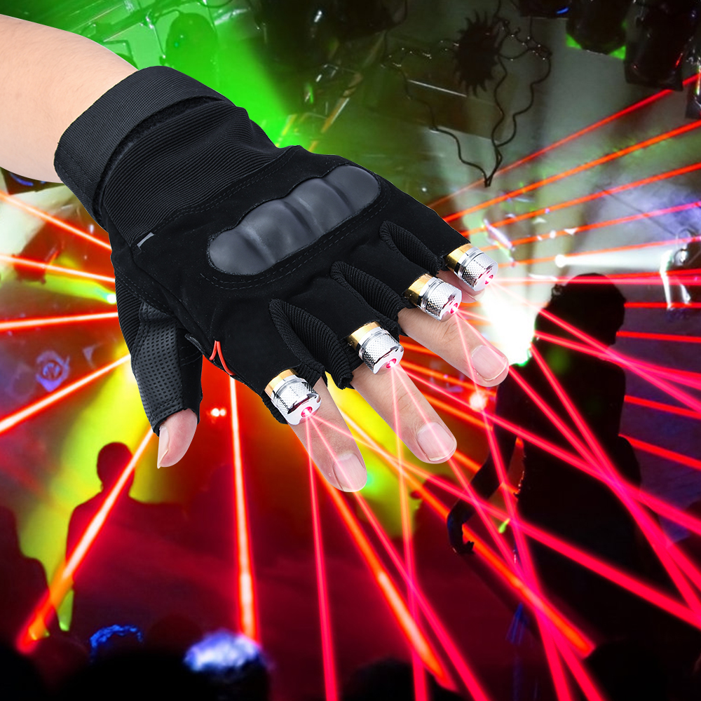 LED Laser Gloves With Battery Green Red Purple LED Bulb Dance Show Finger Gloves Laser For Disco Music Party Stage Lighting