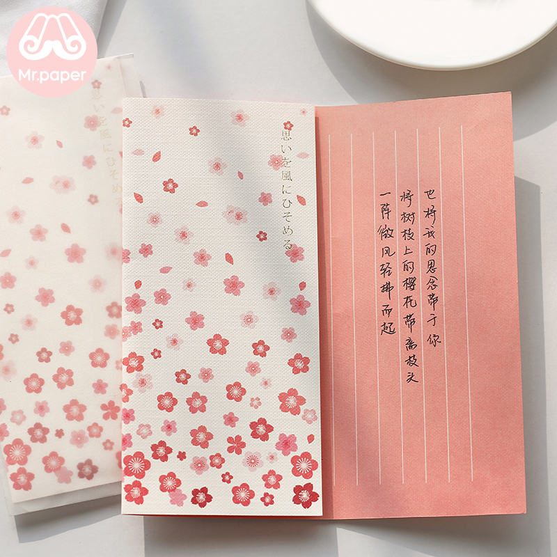 Mr Paper 4pcs/lot 6 Designs Missing Time With Love Flower Envelopes with Letter Paper Chinese Style Crane Flower Gift Envelopes 6