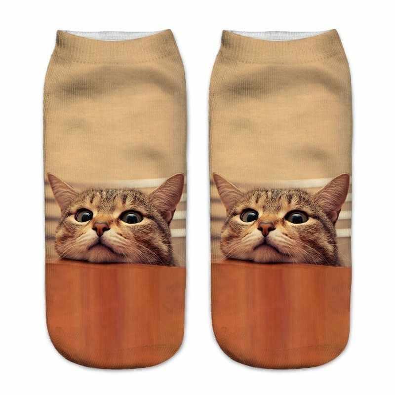 1 זוג חדש ילדי 3d מודפס חתול קרסול ילדים קצר בני נוער ילד בני בנות גרבי הברך כריות ילדה גרבי ילדים גרביים