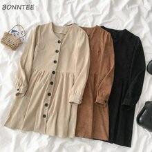 Robe à manches longues femmes automne élégant mode coréenne taille haute Ulzzang femmes robes hiver élégant solide col en v bouton doux