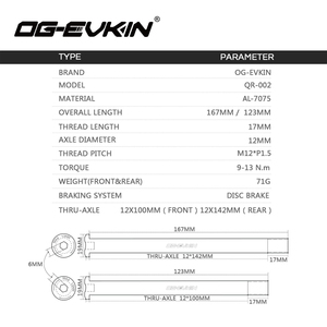 Image 2 - OG EVKIN QR 002 Road Disc Brake Quick Release M12*P1.5 Thru Axle 12x142mm Rear/12x100mm Front Bicycle Skewers For Road Disc QR