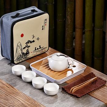 Zestaw filiżanek do herbaty 5 sztuk mały przenośny podróży zestaw do herbaty Kung Fu 5-sztuka zestaw do herbaty Kung Fu zestaw do parzenia herbaty ceramiczny kubek na herbatę chiński zestaw do herbaty tanie i dobre opinie CN (pochodzenie) Kung Fu Tea ceramics Celadon