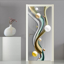 PVC Self-Adhesive Door Sticker 3D Stereo Geometric Marble Line Mural Wallpaper Living Room Bedroom Home Decor Creative Art Decal modern 3d art effect football flame mural wall papers home decor 3d living room bedroom door sticker pvc self adhesive mural