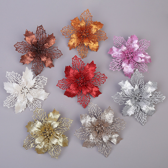 5PCS Artificial Christmas Flowers Glitter Fake Flower Merry Christmas Tree Decorations For Home 2020 Gift Xmas Ornament 5