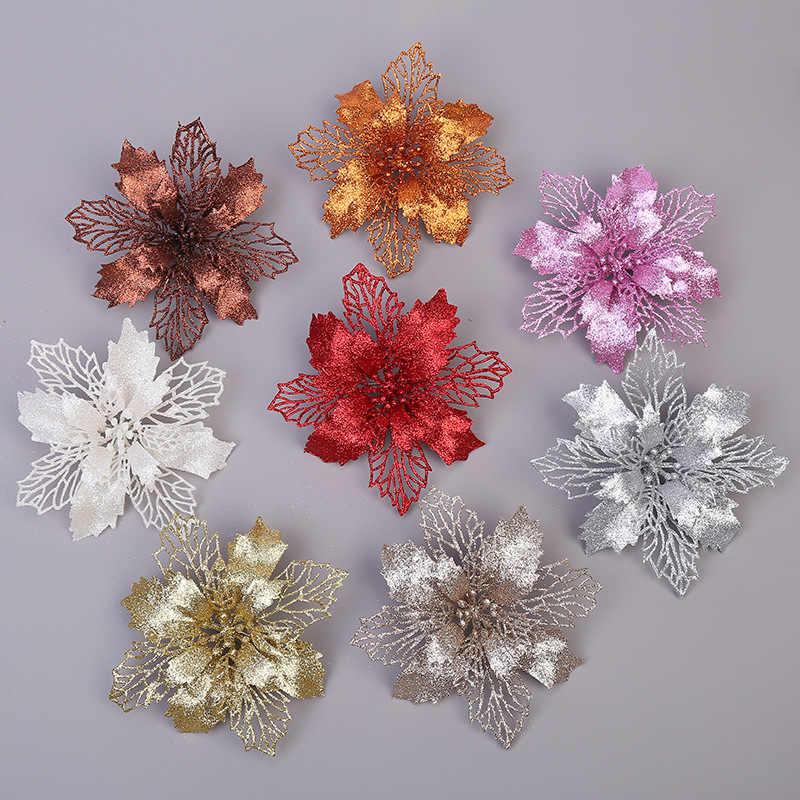 5 Pcs Buatan Bunga Natal Glitter Palsu Bunga Selamat Pohon Natal Dekorasi untuk Rumah 2020 Hadiah Xmas Ornamen