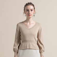 2019 Women Autumn Winter Sweater Crop Top V-Neck Pullover Lace Up Bow Sweater Long Sleeve Solid Knitted Bottoming Pullover
