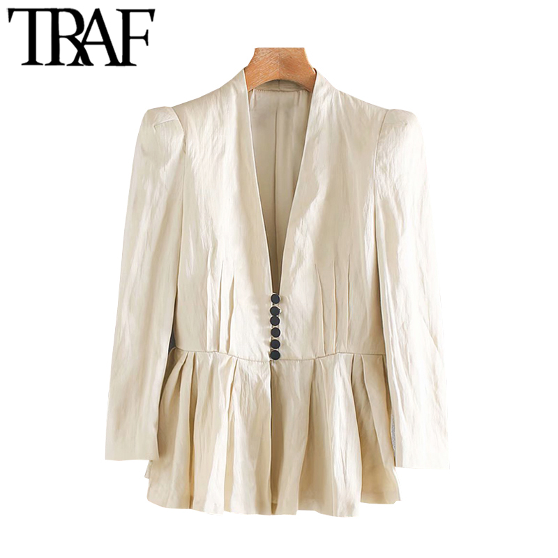 TRAF Women Fashion Covered Button Ruffle Blazer Coat Vintage V Neck Long Sleeve Pleated Female Outerwear Chic Tops