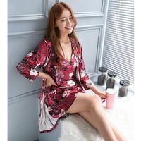 Sexy Womens Night Robe Strap Top Pajamas Suit Velour Two Piece Sleepwear Sets Casual Home Wear Nightwear Sleep Kimono Bath Gown