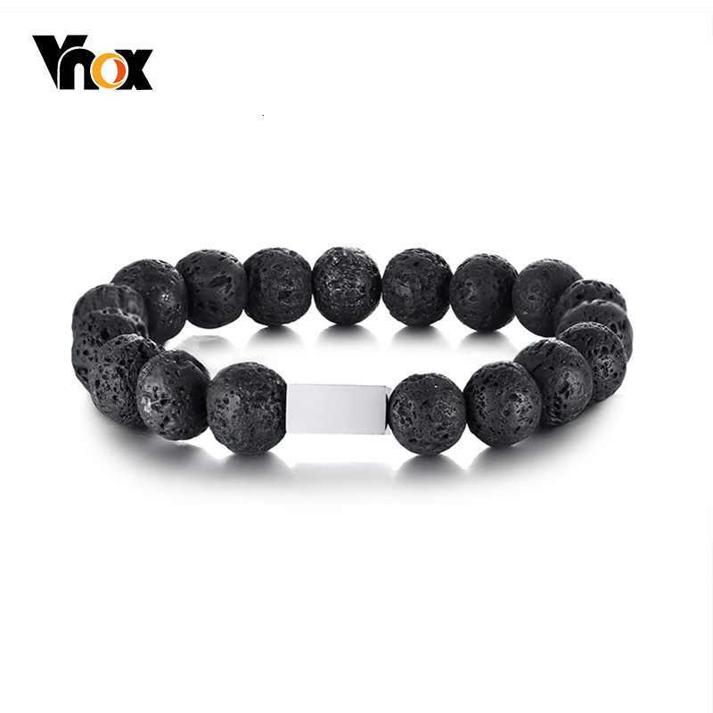 Vnox preto pedra natural contas link pulseira para mulher homem simples aço inoxidável quadrado tag pulseira casual jóias
