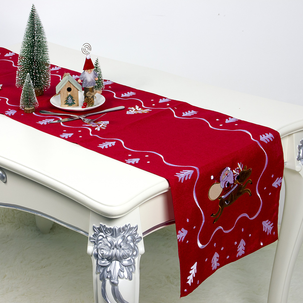 Embroidered Table Cloth Runner Christmas Party Decorations Navy Tablerunner Table Throw For Home Dinning Table Decoration