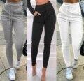 Женские повседневные однотонные спортивные брюки, облегающие спортивные брюки с эластичным поясом и манжетами на щиколотке с карманами
