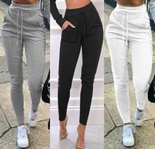 Calças femininas jogger casual cor sólida calças esportivas, cintura elástica tornozelo manguito moletom apertado com bolso