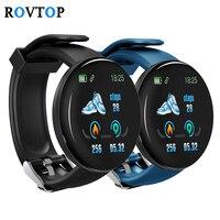 Rovtop d18 smartwatch redondo  masculino e feminino  com pressão arterial  à prova d' água  rastreador de fitness  para android e ios z2