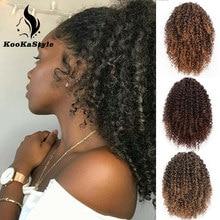 KookaStyle – Extension capillaire synthétique afro-américaine, queue de cheval bouffante à cordon de serrage, cheveux Afro crépus bouclés