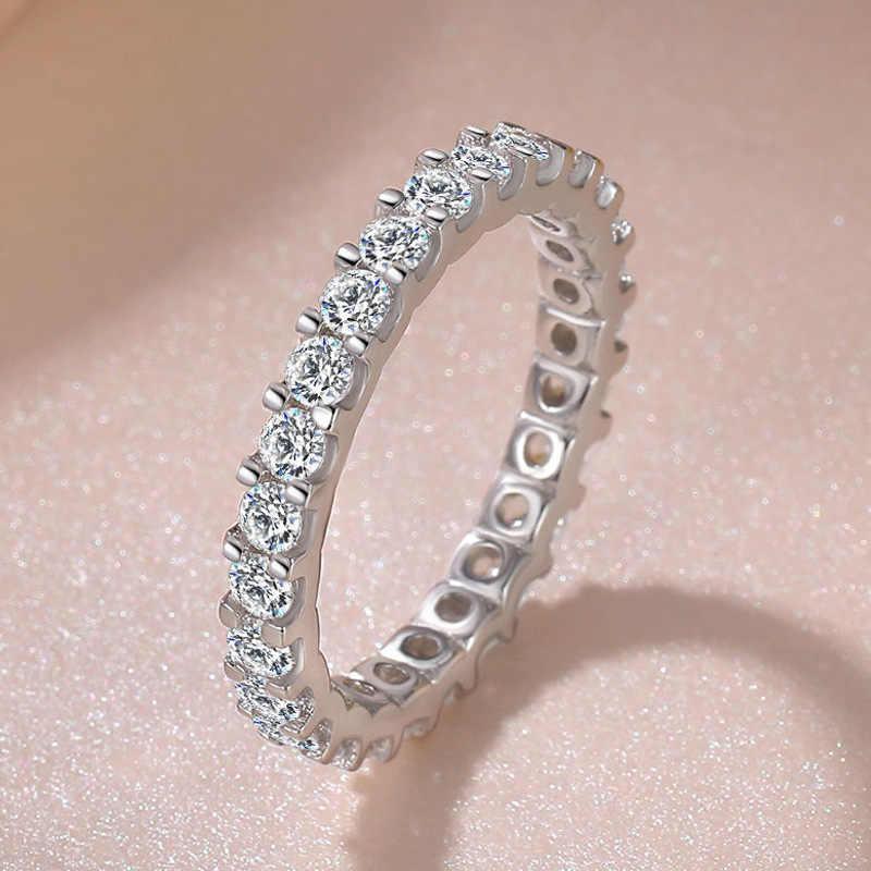 โปรโมชั่นใหญ่!! S925 Sliver VS2 แหวนเพชรเครื่องประดับสำหรับสุภาพสตรี Bizuteria งานแต่งงานแหวน Anillos De เครื่องประดับอัญมณีแหวน