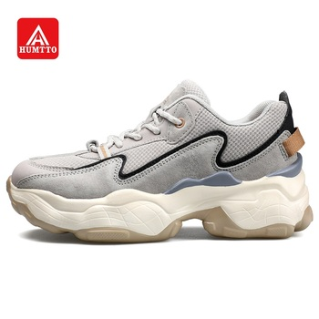 HUMTTO Walking Shoes for Women Dad Shoes Outdoor Traveling Urban Leisure Chunky Sneakers Breathable Genuine Leather Platform