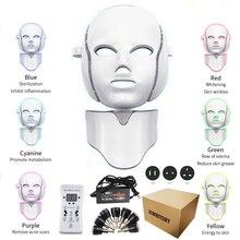 Máscara facial elétrica de led photon 7 cores, rejuvenescimento da pele do pescoço, terapia de fóton anti rugas, cuidados com a pele máscara