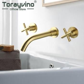 Grifo de lavabo de latón y níquel dorado cepillado para baño grifo de pared de baño mezclador de agua caliente y fría con dos asas