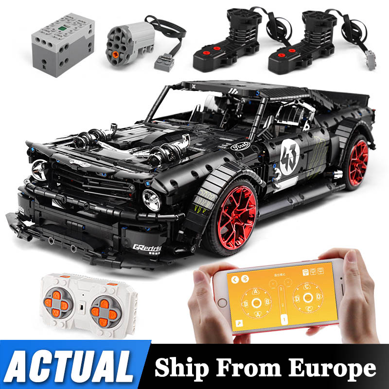 Mould King 1965 Ford Mustang Hoonicorn Remote Control Racer Car Compatible Technic <font><b>MOC</b></font> <font><b>22970</b></font> Building Blocks Bricks Toy image