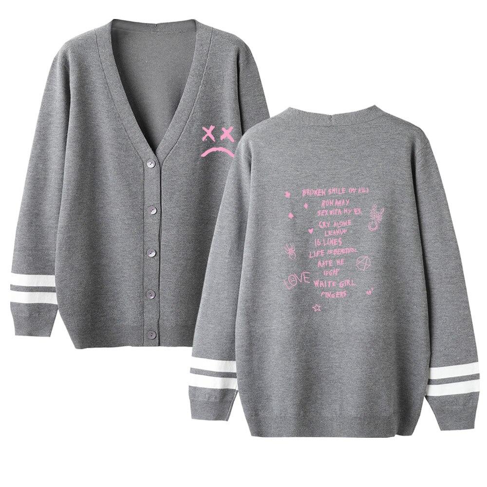 Lovers Cardigan Sweater Lil Peep Streetwear Sweater 2019 Women Casual Autumn V-Neck Long Sleeve Crochet Knit Autumn Warm Sweater