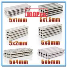 100Pcs Mini Kleine N35 Runde Magnet 5x1 5x 1,5 5x2 5x3 5x4 5x5mm Neodym Magnet Permanent NdFeB Super Starke Starke Magneten
